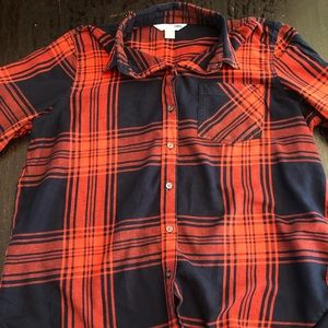 Old Navy Red and Navy Plaid Button Down Shirt XL